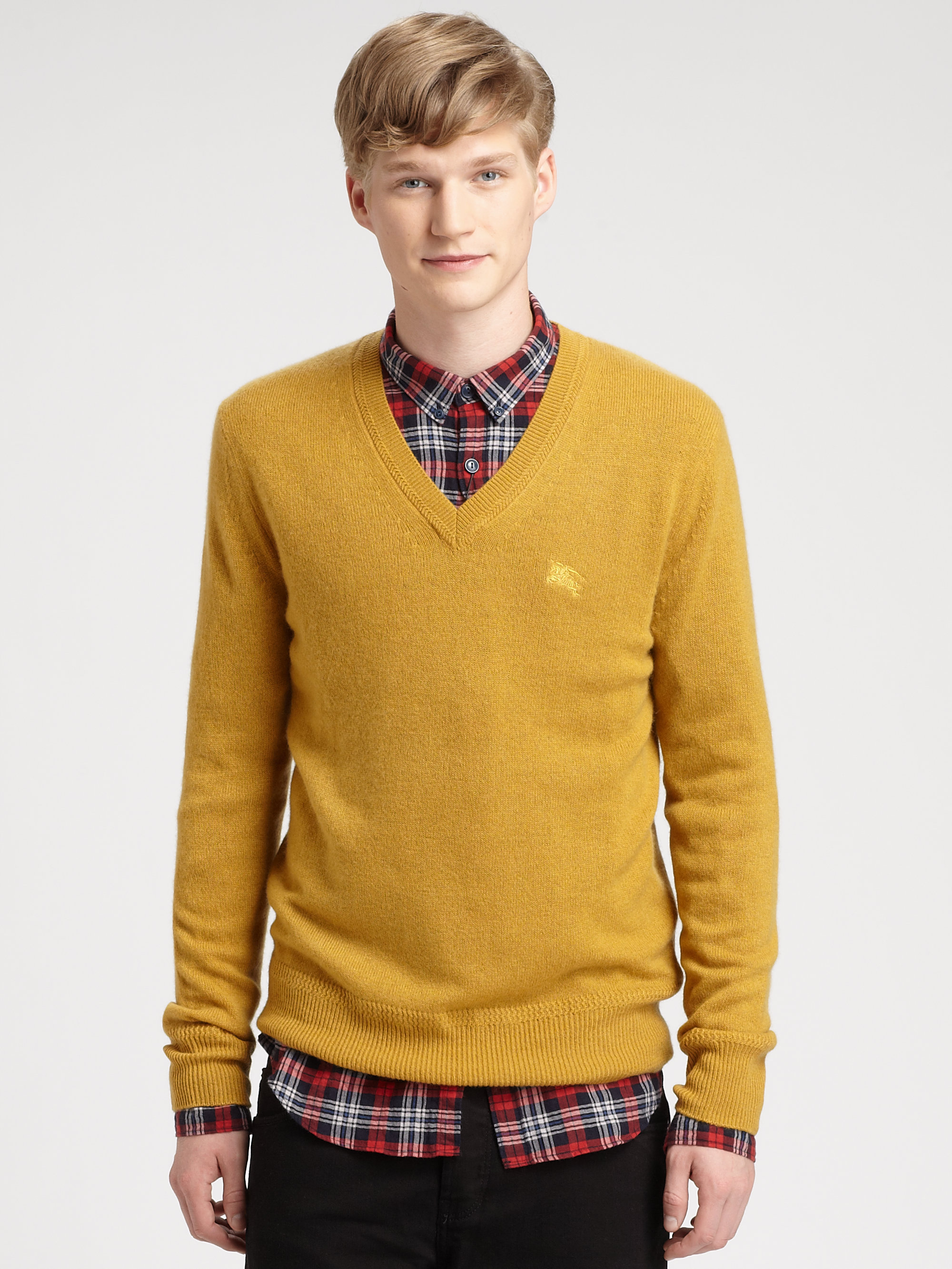 Lyst Burberry Brit Cashmere Sweater In Yellow For Men