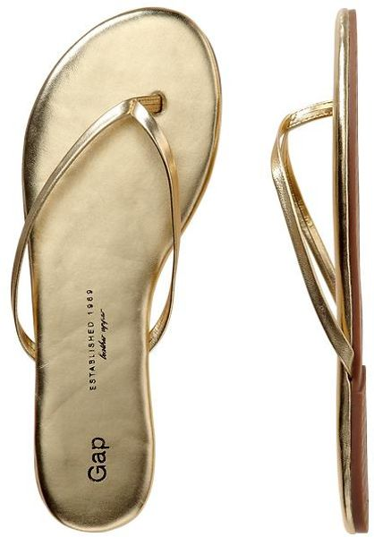 Gap Leather Flip Flops In Gold Lyst