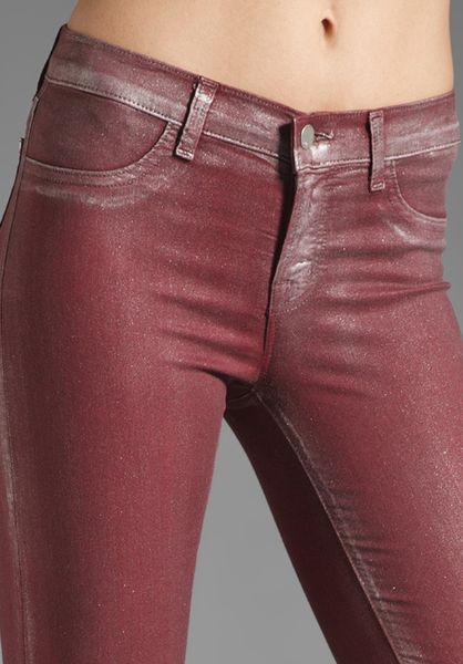 J Brand Coated Skinny In Ruby Bullet In Red Wine Lyst
