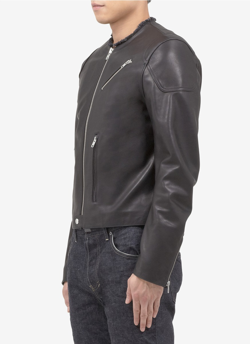 Download Lyst - Acne Studios Frayed-edge Leather Jacket in Black for Men