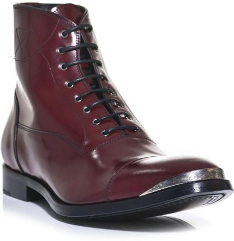 Alexander Mcqueen Leather Oxford Boots In Red For Men