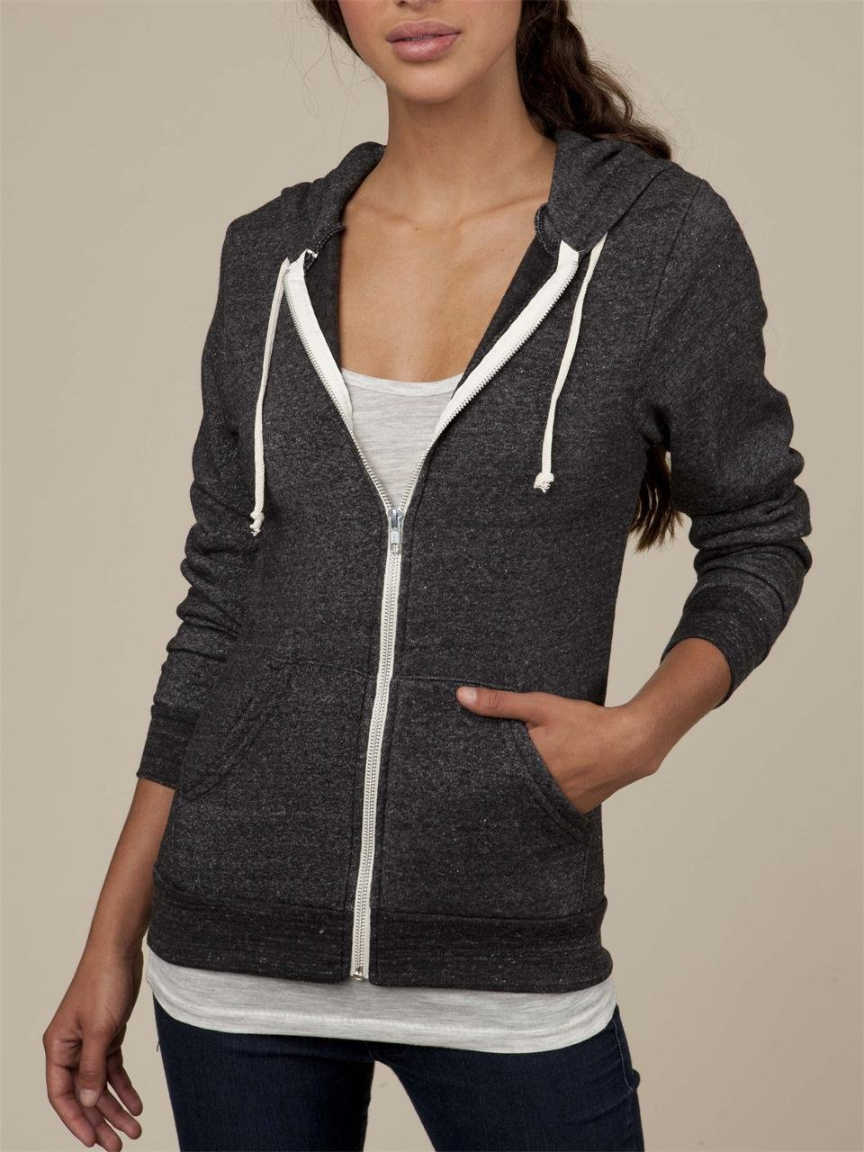 Alternative apparel Womens Rocky Zip Hoodie in Black | Lyst