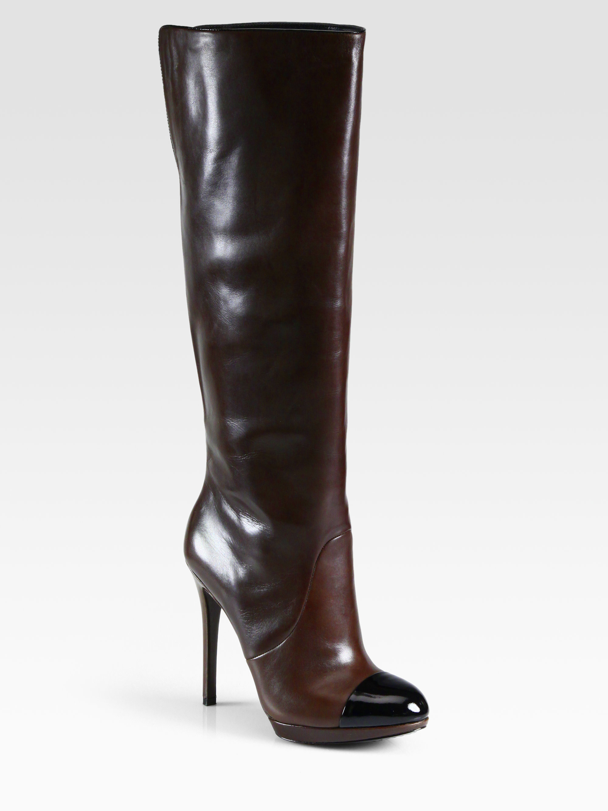B brian atwood Platform Knee-high Boots in Black | Lyst