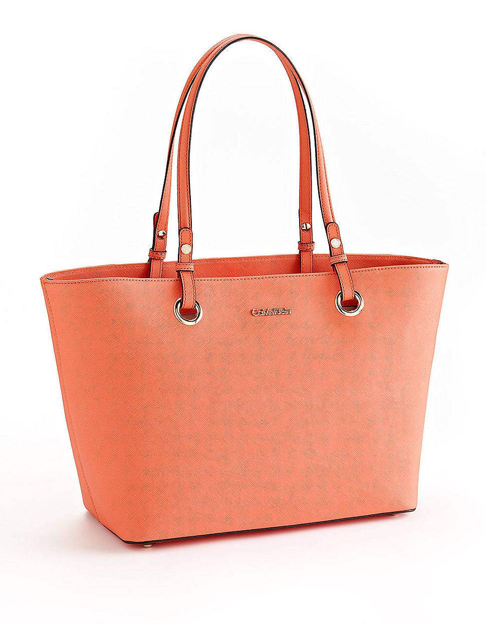 Calvin Klein Leather Tote Bag In Orange Lyst