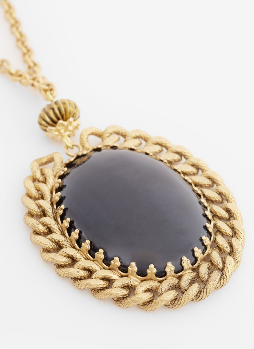 Lyst ela stone stone pendant necklace in metallic gallery aloadofball Image collections