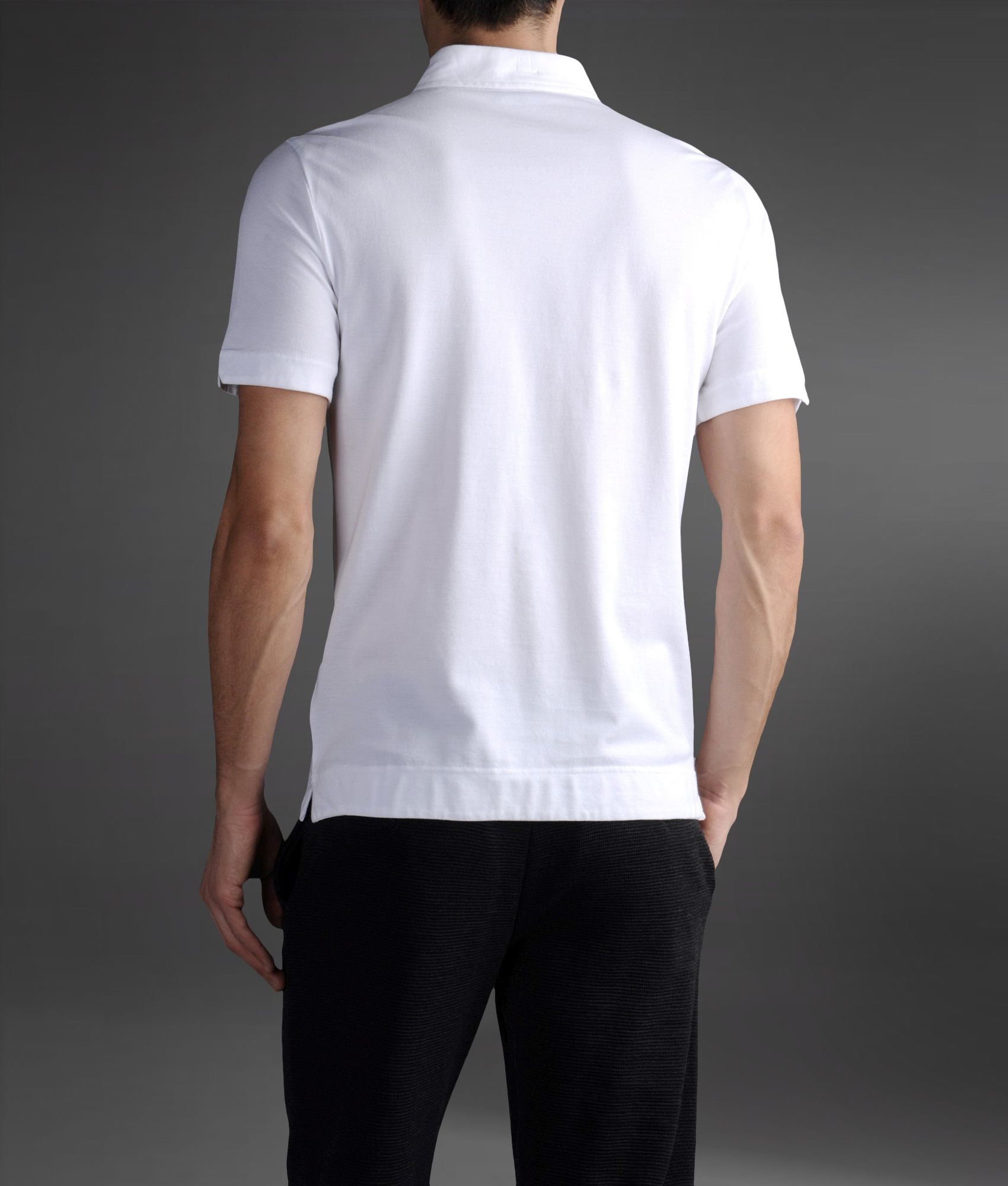 In Pique For With Armani Pocket Shirt Polo Cotton Emporio White xqawtRT7RX