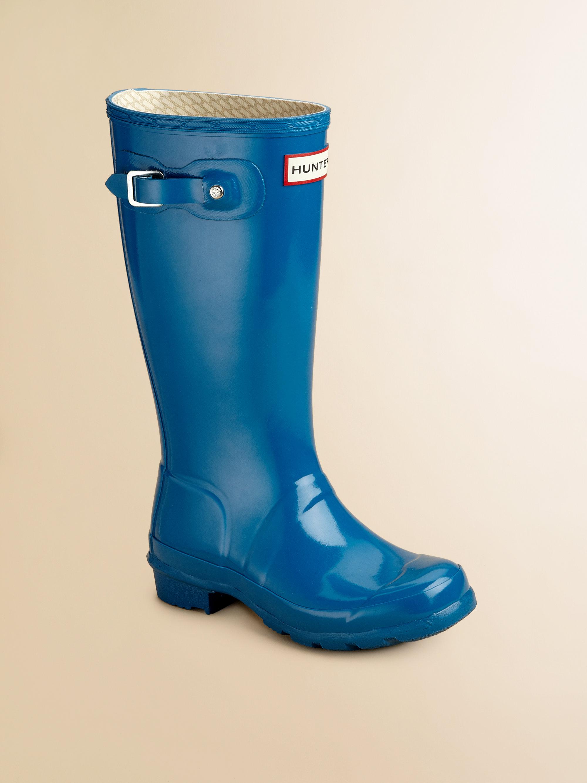 Hunter Kids High Gloss Original Tall Rain Boots in Blue | Lyst