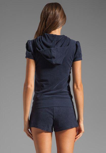 Juicy Couture Terry Puff Sleeve Hoodie In Regal In Blue