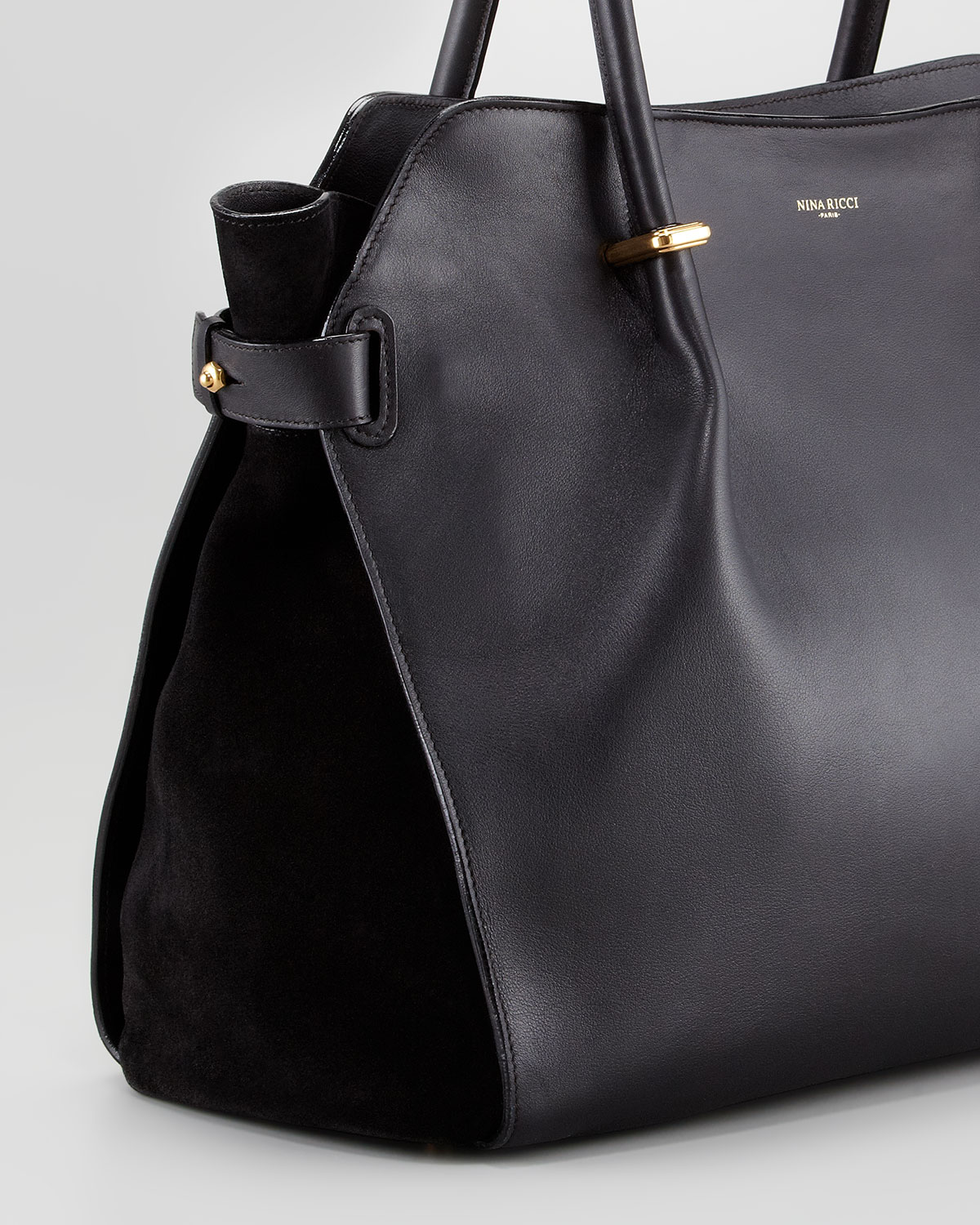 Lyst - Nina Ricci Marche Large Leather Tote Bag Black in Black b1d887bd081ce
