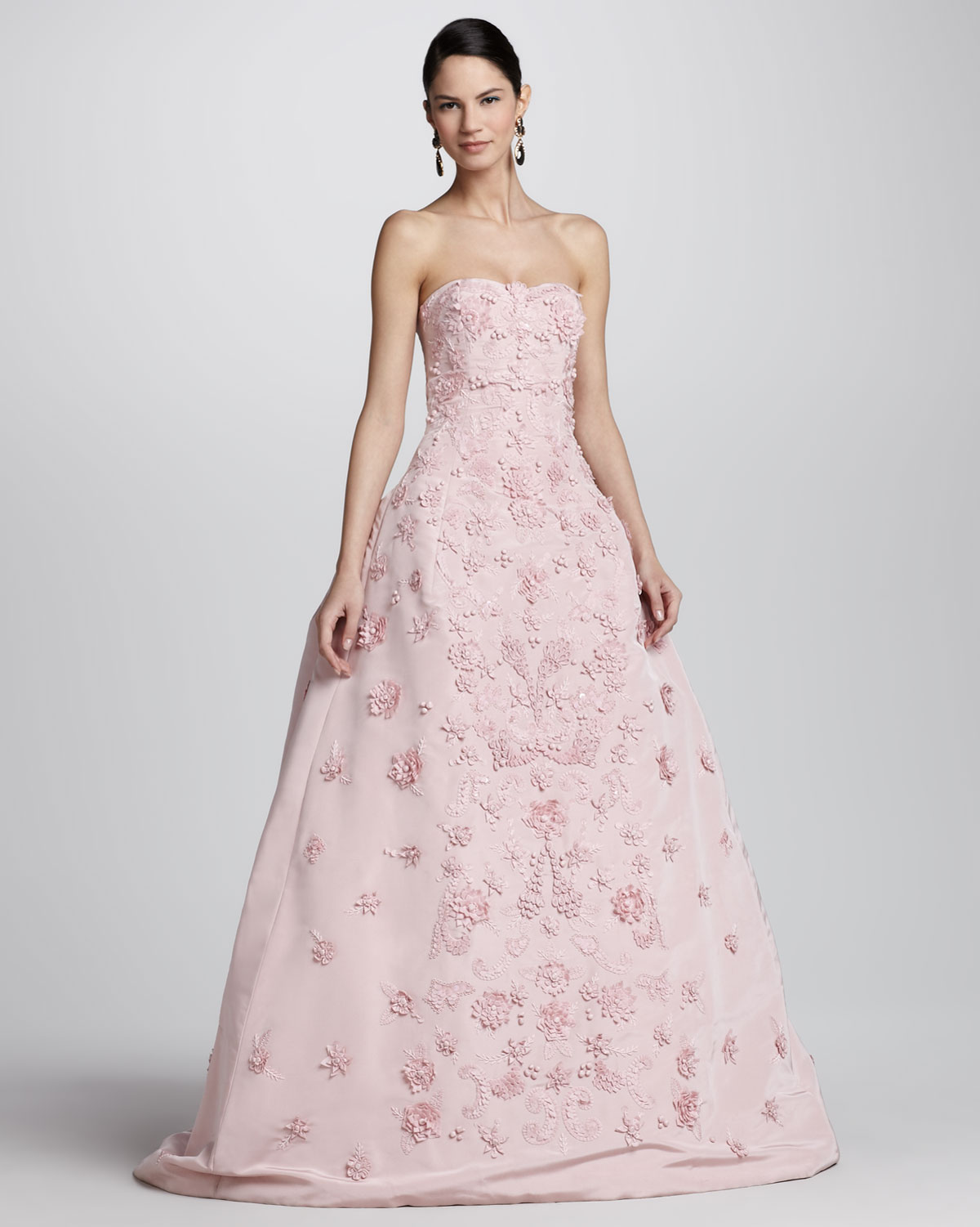 Lyst Oscar De La Renta Strapless Floral Applique Ball Gown In Pink