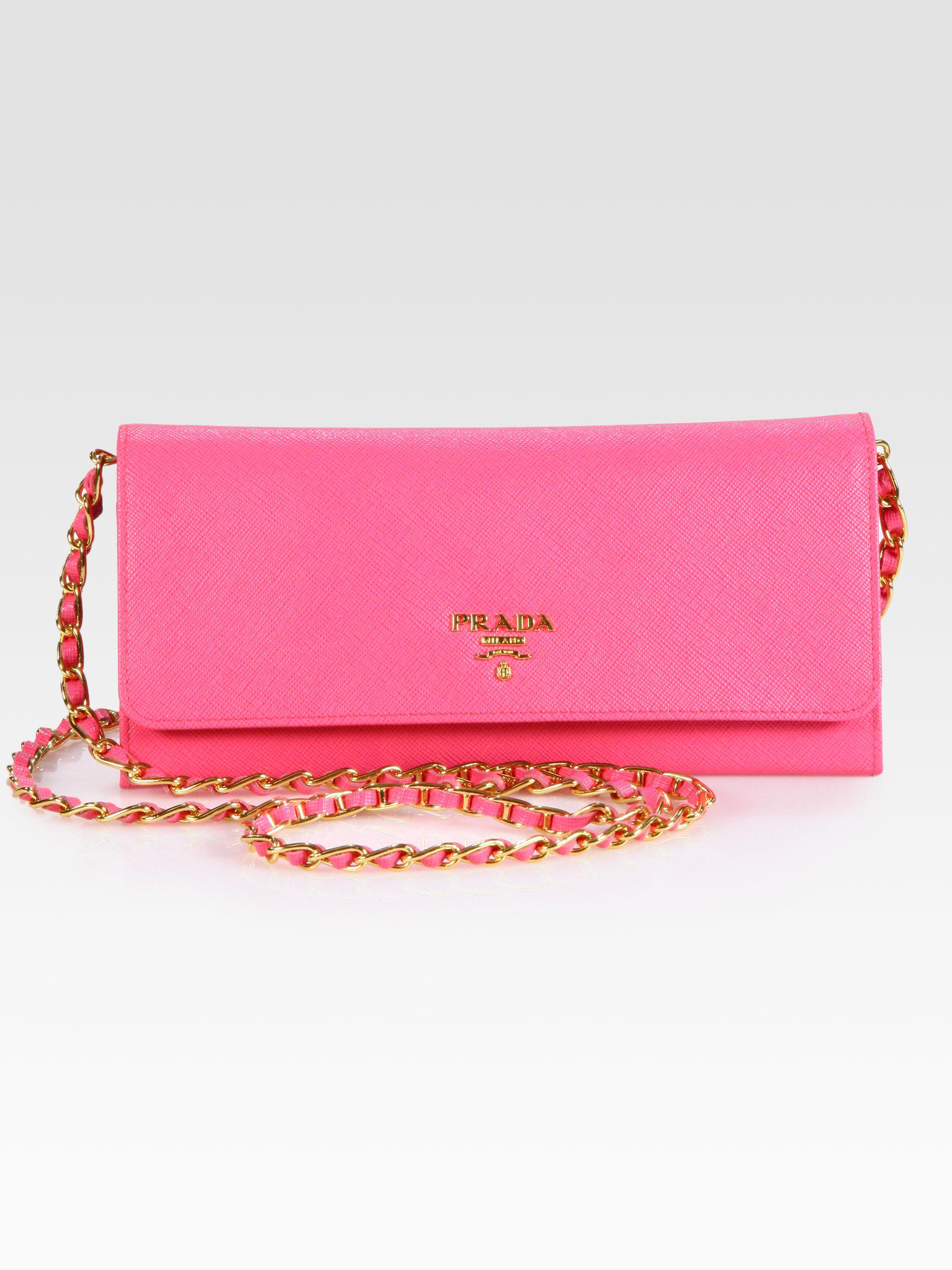 pink leather prada handbags - prada pink wallet