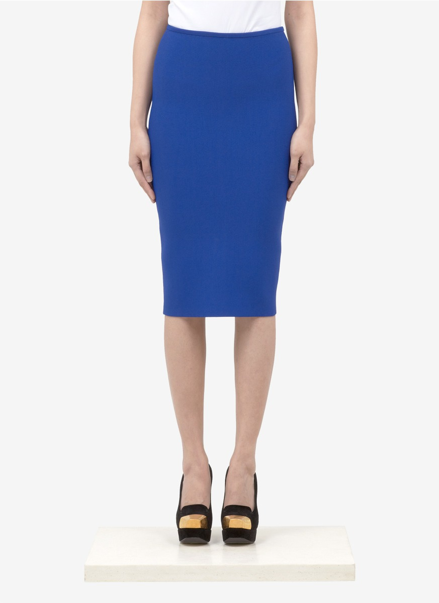 roland mouret heavy knit pencil skirt in blue blue and