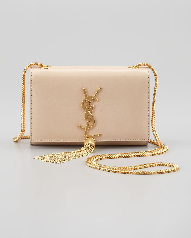 5ee53268dd Lyst - Saint Laurent Cassandre Small Tassel Crossbody Bag in White