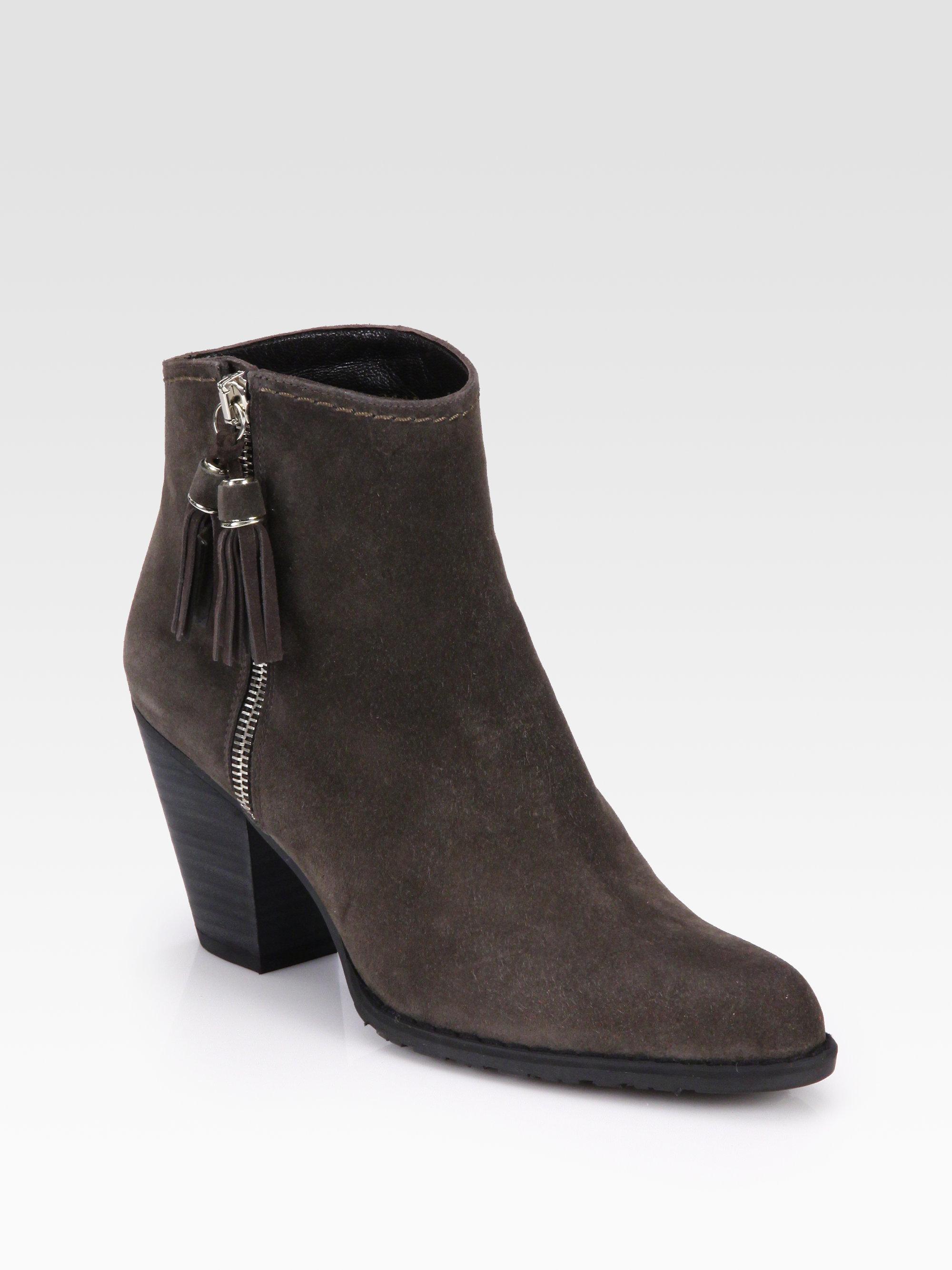 stuart weitzman suede tassel ankle boot in brown lyst