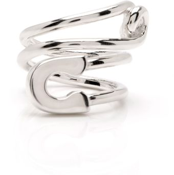 Tom Binns Silver Twisted Safety Pin Ring - Lyst
