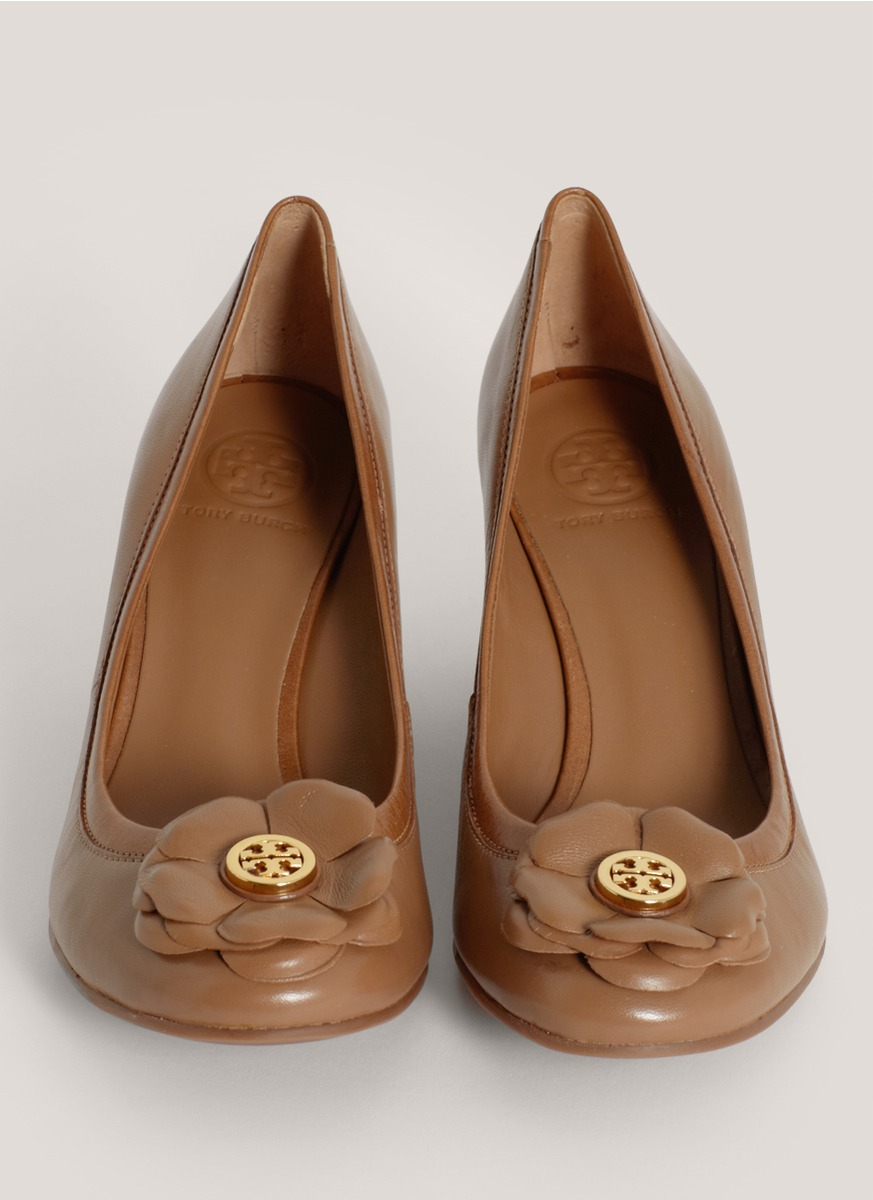 be92fedf6091 Lyst - Tory Burch Shelby Floral Leather Wedges in Brown