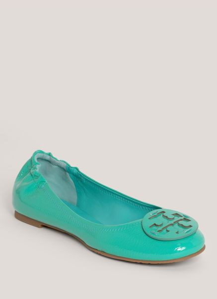 tory burch reva patentleather ballerina flats in blue turquoise lyst. Black Bedroom Furniture Sets. Home Design Ideas