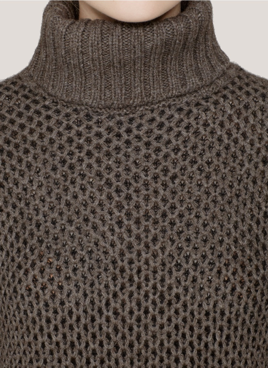 Vince Honeycomb Knit Roll Neck Sweater In Gray Lyst