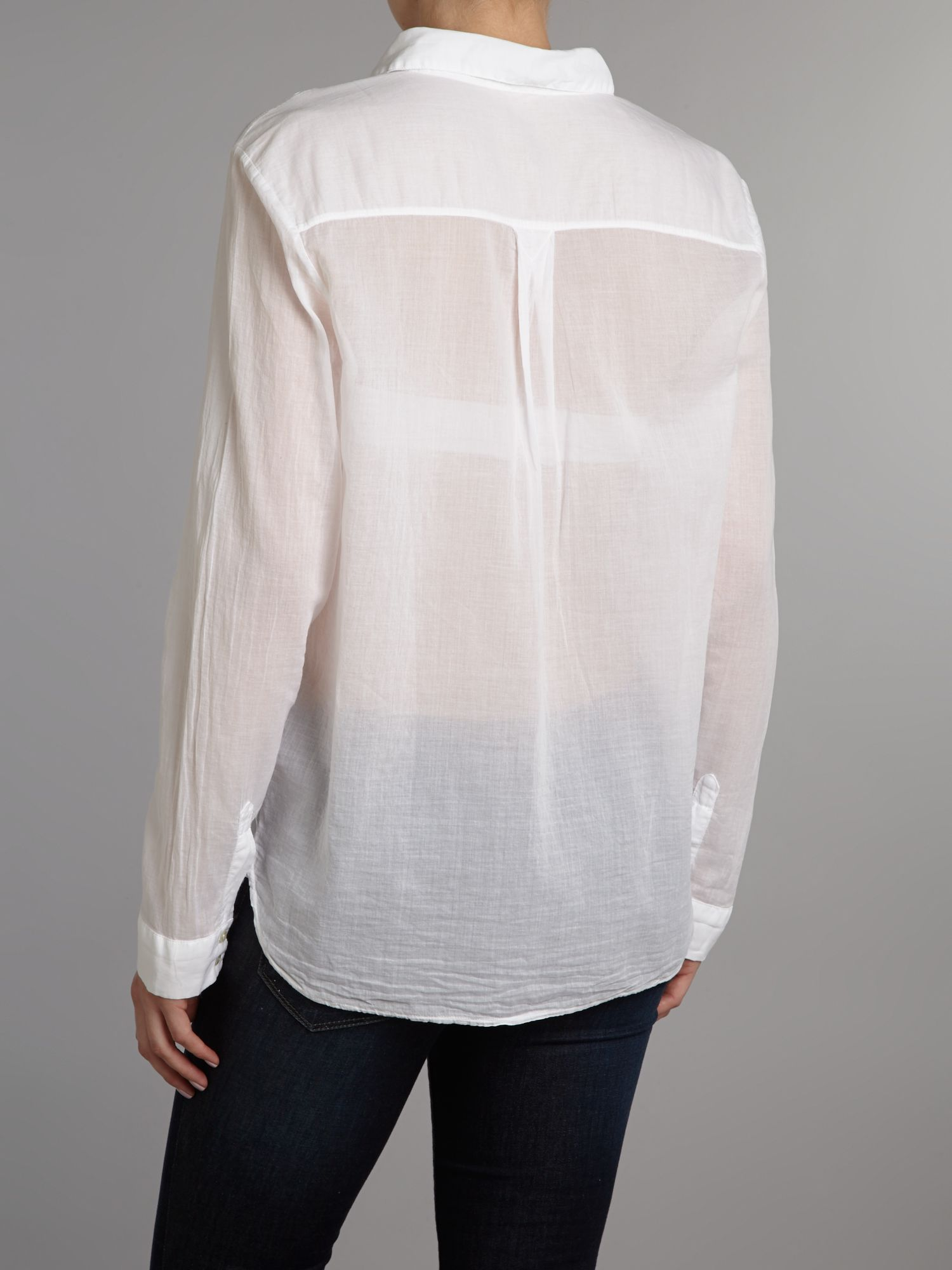 Whistles freya soft cotton shirt in white lyst for Soft cotton dress shirts