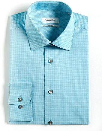Calvin Klein Cotton Checked Dress Shirt - Lyst