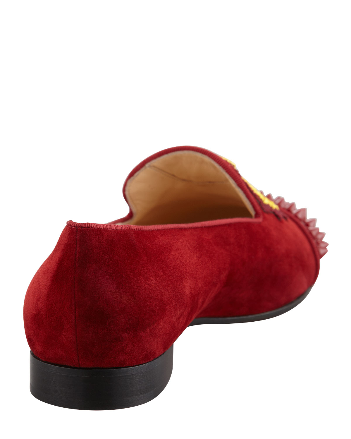 louboutin men shoes - Christian louboutin Intern Spiked Velvet Red Sole Loafer Red in ...