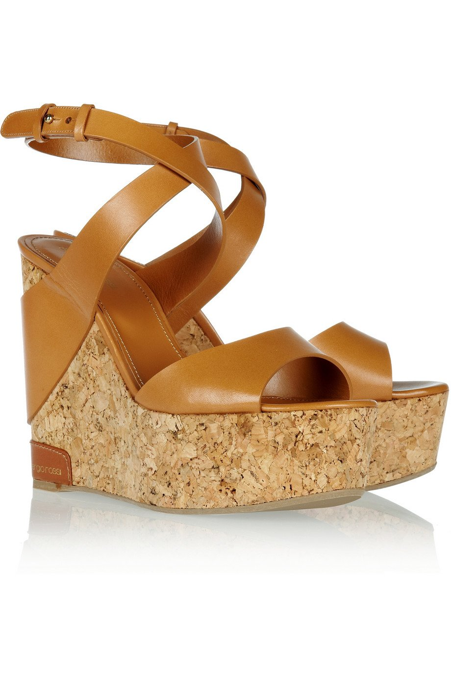 Sergio Rossi Leather and Denim Wedge Sandals Buy Cheap Fashion Style How Much Online Buy Online Outlet Hot Sale Sale Online Discount Best Place LwkKZx65