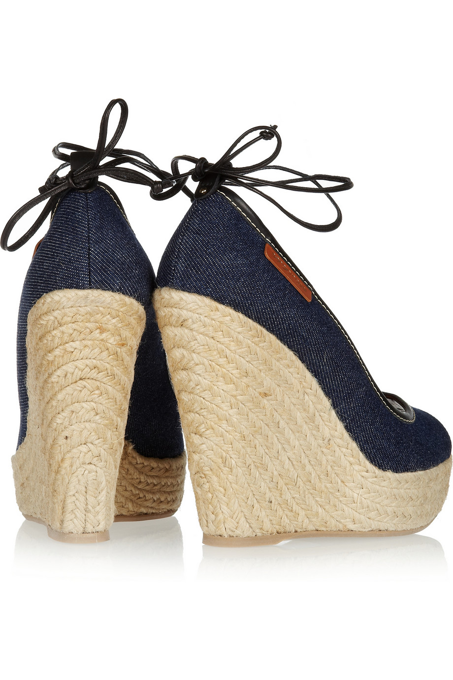 Lyst Sergio Rossi Denim Wedge Sandals In Blue