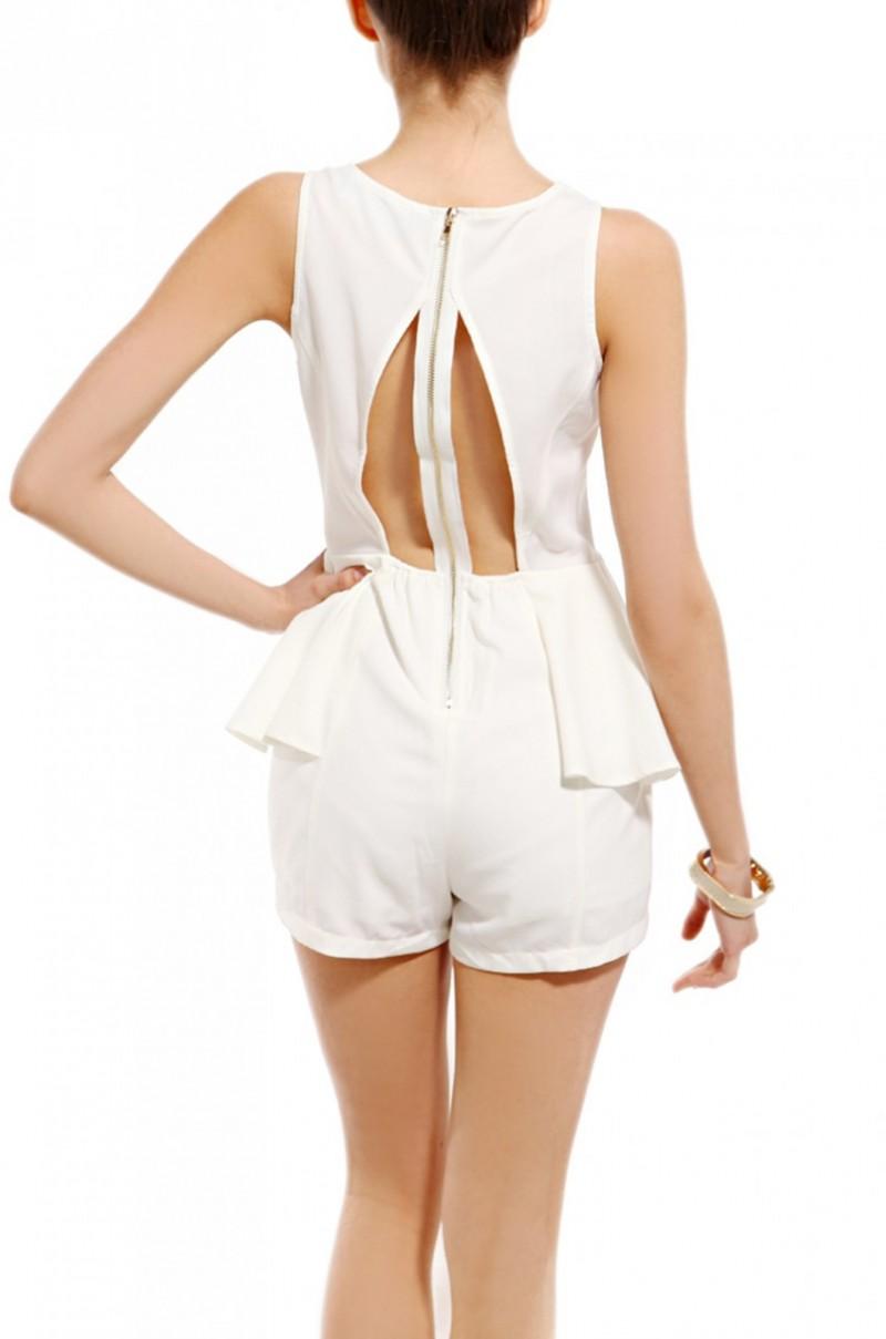 873b133471b2 Lyst - AKIRA Zip Back Peplum Romper in White