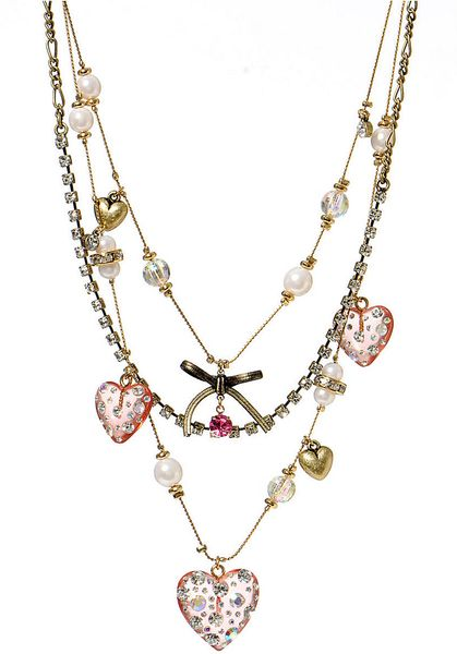 Betsey Johnson Multi Strand Heart Necklace In Gold Gold