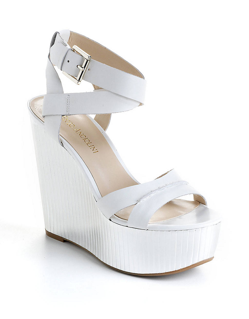 enzo angiolini zamaz leather platform wedge sandals in