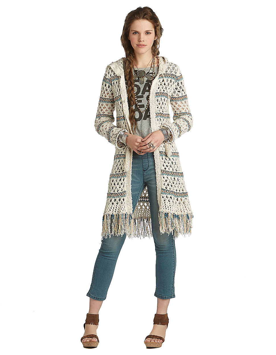 Free people Hooded Striped Fringe Cardigan in White | Lyst