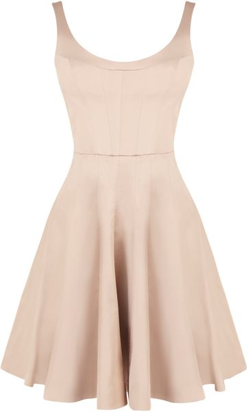 Karen Millen Tailored Prom Dress In Beige Pink Lyst