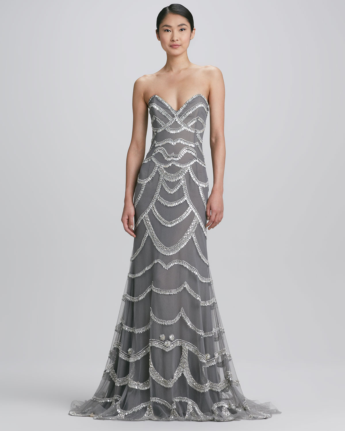 94e6c42d4ff13 Naeem Khan Beaded Strapless Gown in Metallic - Lyst