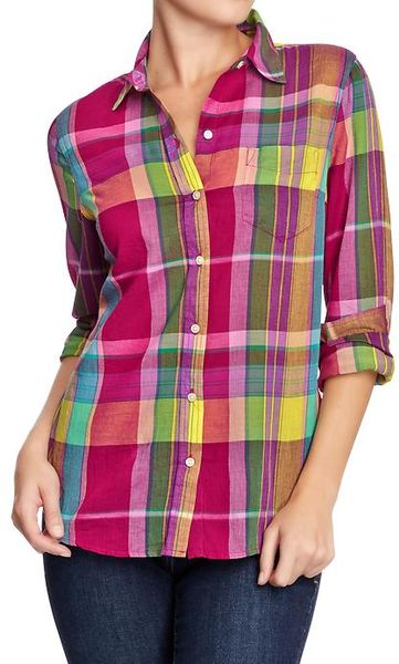 Old Navy Plaid Print Madras Shirt In Multicolor Purple