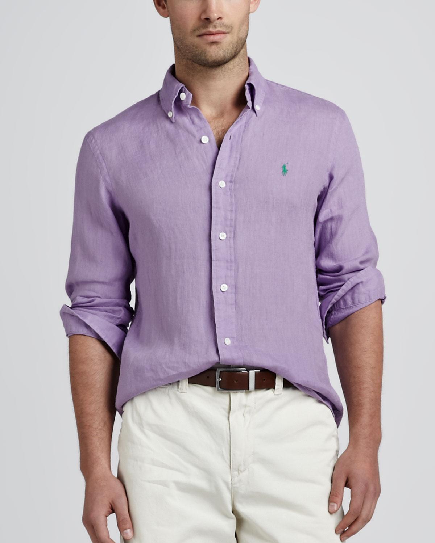 3d91a16a9a46 Lyst - Polo Ralph Lauren Linen Sport Shirt Hampton Lilac in Purple ...