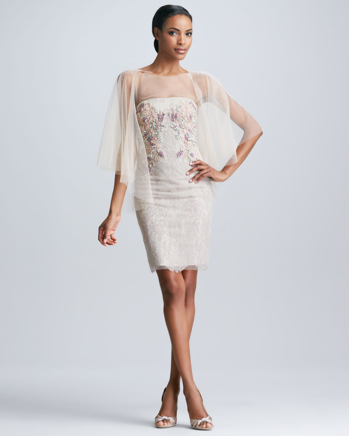 Badgley mischka Tulle Cape Strapless Embroidered Cocktail Dress in ...
