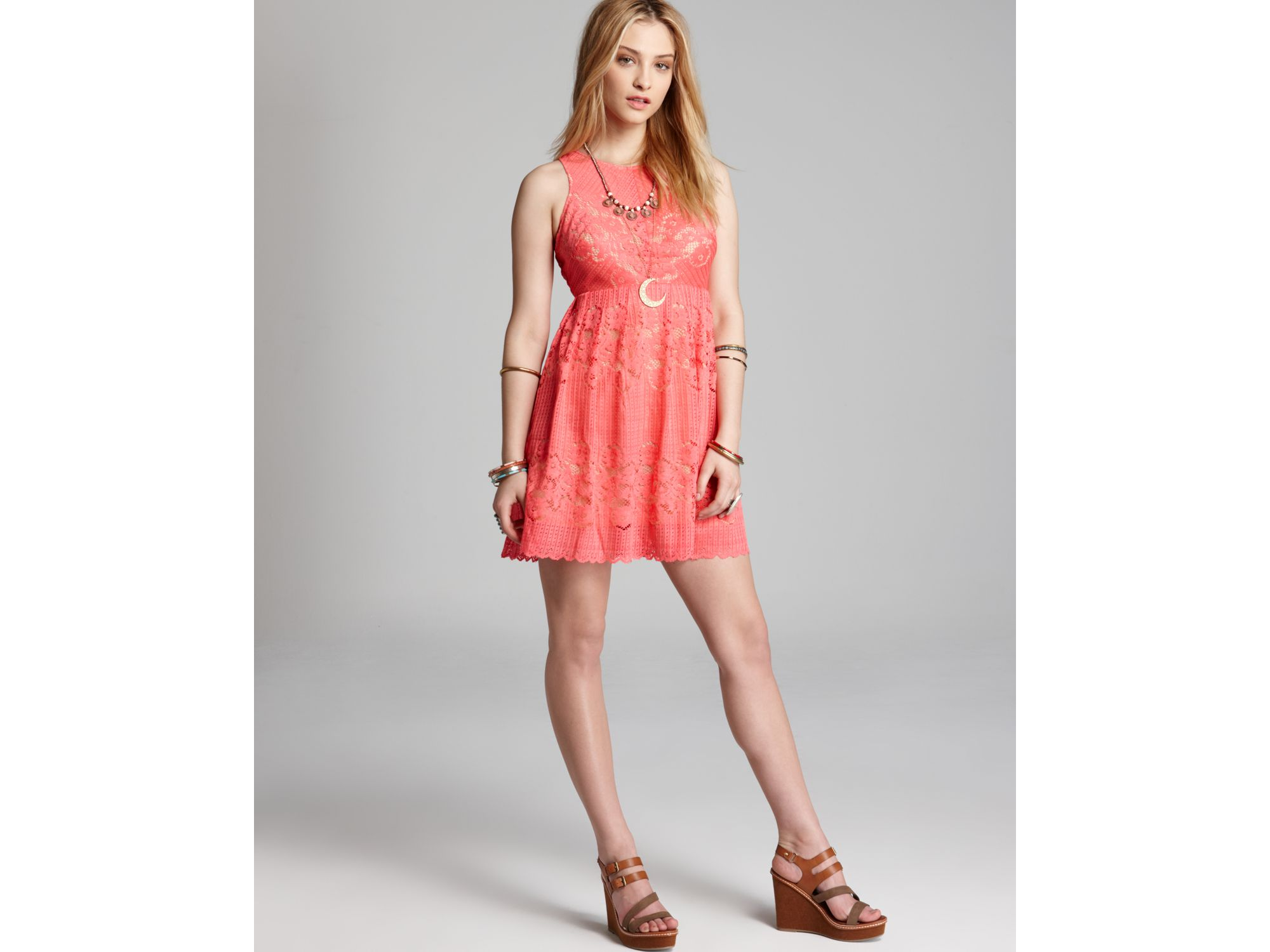 Free people Dress Rocco Lace in Pink  Lyst