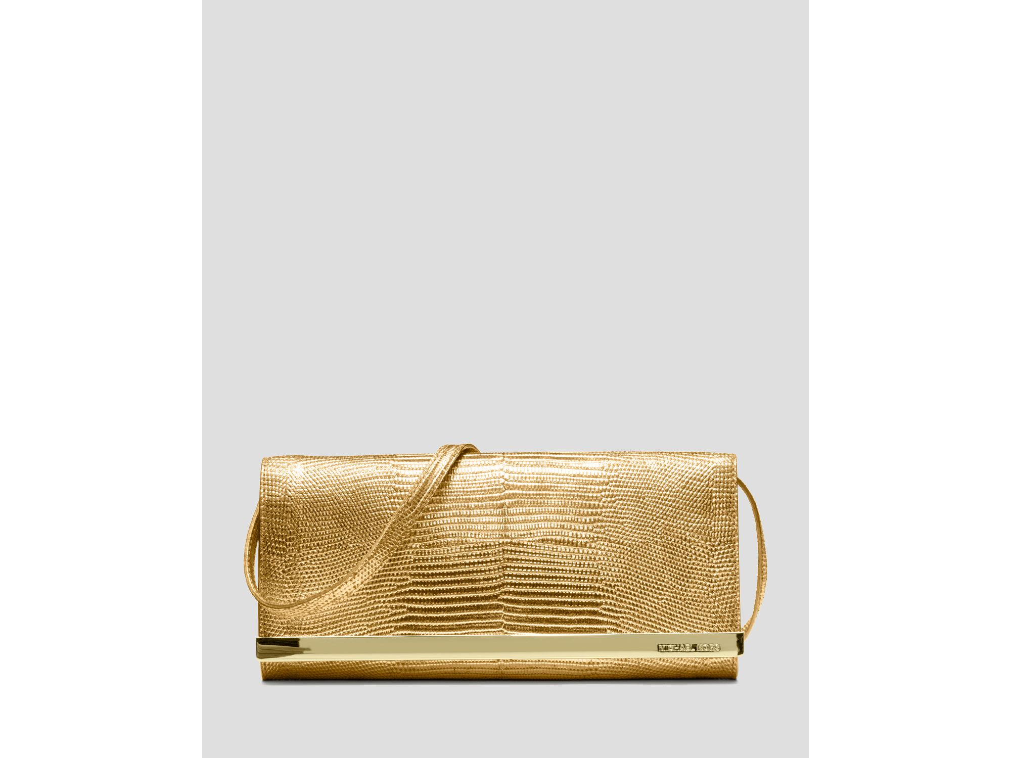 michael michael kors clutch metallic in gold lyst. Black Bedroom Furniture Sets. Home Design Ideas