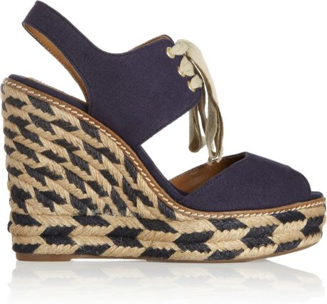 Tory Burch Linley Canvas Wedge Sandals In Blue Navy Lyst
