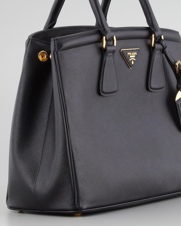 76b9cec4dab3 Prada Saffiano Parabole Tote Bag in Black - Lyst