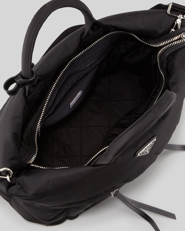 3b8d7bb753d7 Lyst - Prada Tessuto Bomber Diagonal Zip Tote Bag in Black