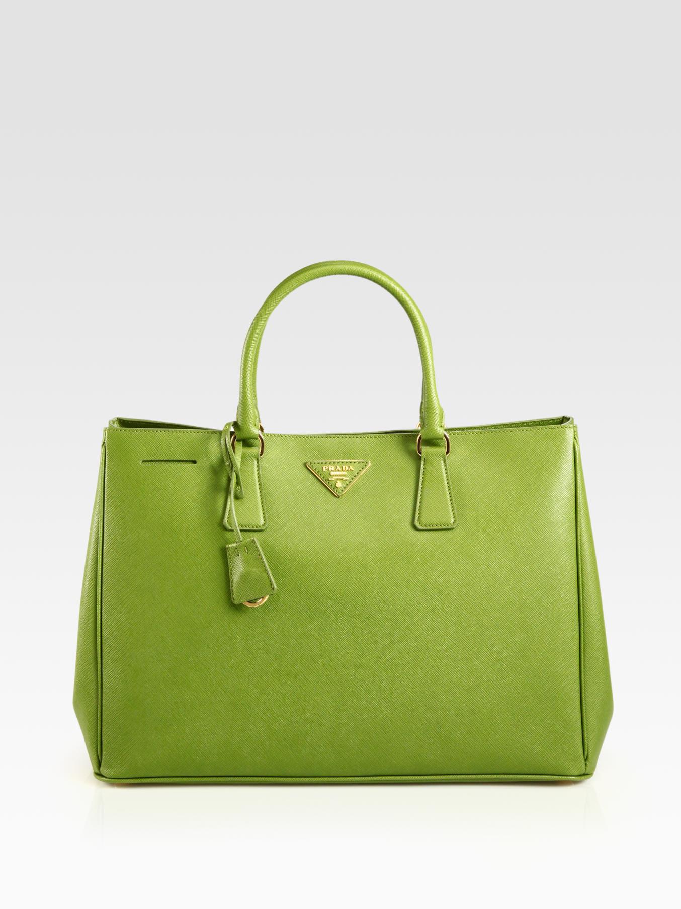 e4bcb913a39b ... best lyst prada saffiano lux tote in green 9d80f 76a49