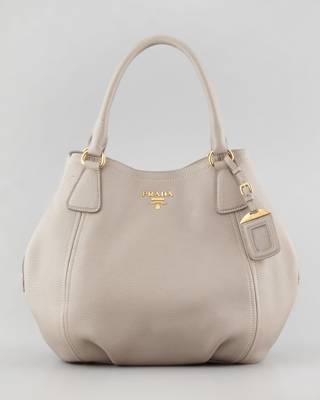 Prada Daino Medium Shoulder Tote Bag in Gray | Lyst