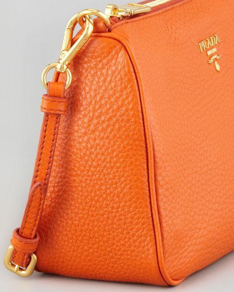 Prada Daino Small Shoulder Bag in Orange | Lyst