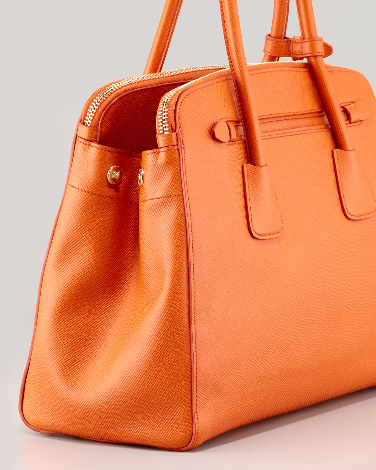 Prada Saffiano Cuir Large Double Zip Tote Bag in Orange | Lyst