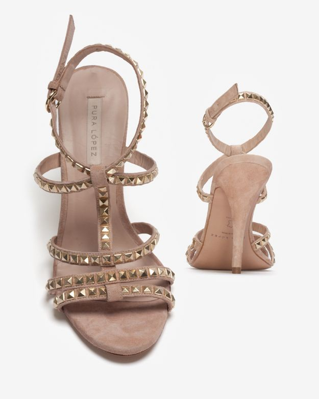 71cdca58717 Pura López Exclusive Gold Studded High Heel Sandal in Natural - Lyst