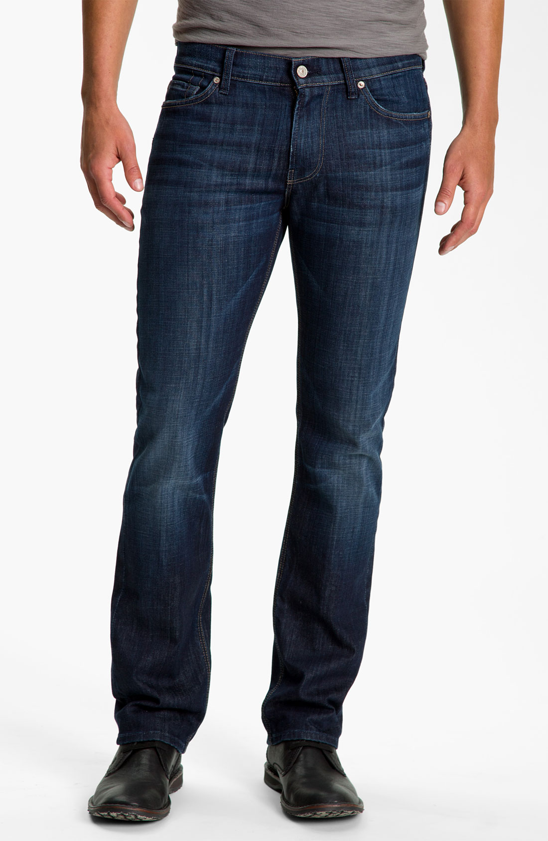 7 for all mankind slimmy slim straight leg jeans los angeles dark in blue for men los angeles. Black Bedroom Furniture Sets. Home Design Ideas