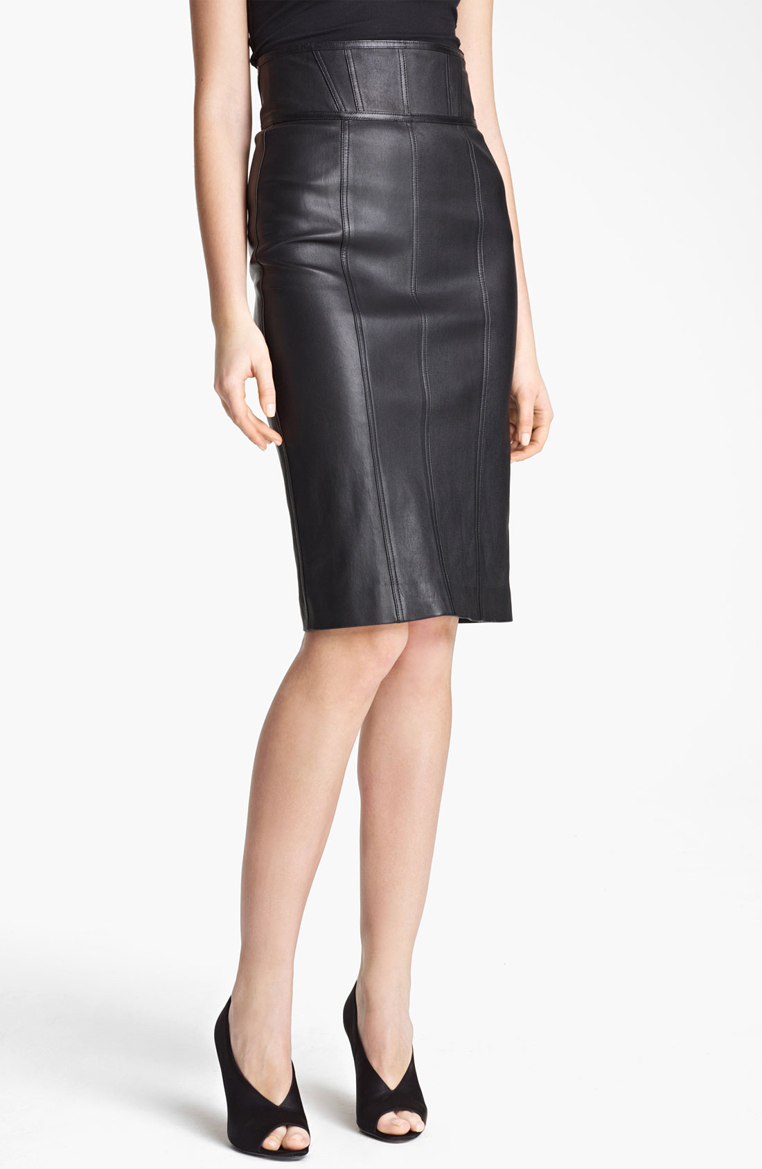 Burberry High Waist Leather Skirt in Black | Lyst