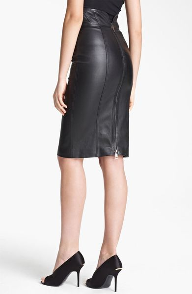 burberry high waist leather skirt in black lyst