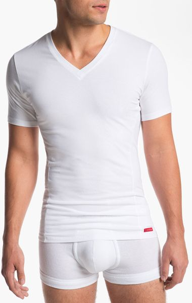 Calvin Klein Pro Stretch Slim Fit Vneck Tshirt in White for Men | Lyst